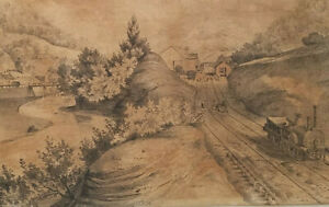 1840 Arthur Fitzwilliam Tait Lithograph Hebden Bridge Manchester Leeds Railway