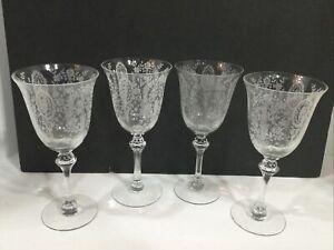 "Set of Four Stunning Fostoria Water Goblet Wine Glasses Stemware 8"""