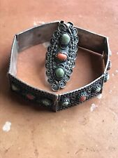 "VINTAGE Egyptian 1960s Silver 7.5"" Bracelet And 1.75"" Ring"