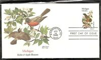 US SC # 1974 State Birds And Flowers ( Michigan ) FDC. Fleetwood Cachet .