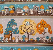"19"" Cute Critters Debbie Mumm Wilmington Owl Tree Raccoon Teal Orange Taupe"