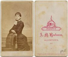 YOUNG LADY IN DRESS WITH BUSTLE BY BACHMAN, ALLENTOWN, PA, ANTIQUE CDV