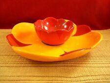 CHIP AND DIP SET ORANGE RED FLOWER DESIGN Serving Platter   C36