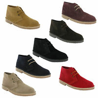 Roamers Desert Boots 2 Eye Mens Boys Real Suede Leather M467 Chisel Toe UK 3-12