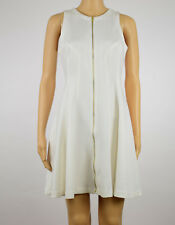 Bar III Womens Washed White Scuba Zip Front Fit & Flare Dress S