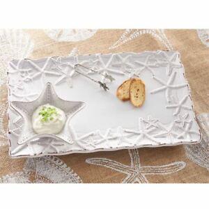 "Mud Pie E1 Home Natural Beauties Starfish Chip N Dip 10"" x 16"" Platter Set 10218"