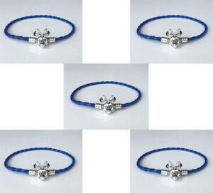 5PCS Blue Leather Bracelets Chain Bangle Suit European Charm Beads 20cm