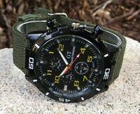 Men's Chronograph Style Analog Quartz Racing Black Yellow Dial Watch Green Strap