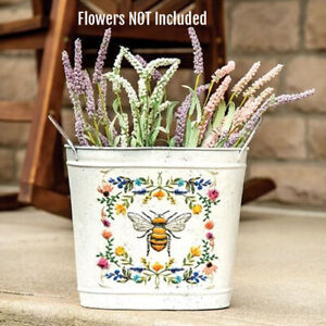 New Shabby Rustic Aged White WILD FLOWER HONEY BEE BUCKET Basket Pail Container