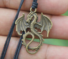 Medieval winged Dragon Viking Brass Pendant with adjustable cotton necklace