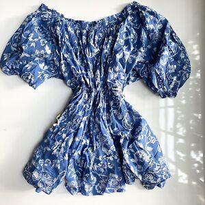 NWT Free People Nora Nightie Dress Indigo Blue Combo M $88