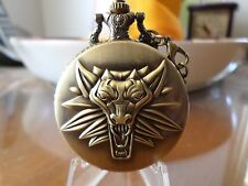 The WITCHER Game Bronze  Dial Cosplay Quartz Pocket Watch Analog  with gift box