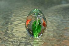 """Dynasty, Two Fish Swimming in Clear Egg Paperweight, 2.3"""" x 1.7"""", D10"""