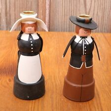 Pilgrim Man and Woman Candle Stick Holders