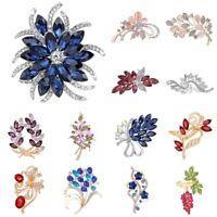 Women Flower Brooch Pin Bridal Bouquet Rhinestone Crystal Wedding Jewelry Gift