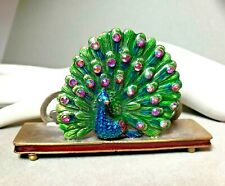 Gorgeous Peacock Card Holder Lustrous Enamel Details with Crystals