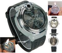 Men Watches Butane Big Cigarette Cigar Lighter Refillable Black Wrist Watch UK