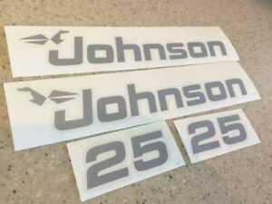 Johnson Sea Horse Outboard Motor Decals Silver 25 HP FREE SHIP + FREE Fish Decal