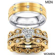 Yellow Gold Filled Couple Rings CZ Titanium Men Ring 3pc Womens Wedding Ring Set