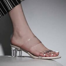 Cinderella Transparent Sandals Clear PVC Ankle Strappy Chunky Jelly Shoes