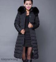 Womens Winter Warm Hooded Coat Fur Parka Jacket Long Ladies Outerwear Zipper SZ