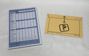 2013 Clue Replacement Parts Pieces Clue Sheet Notepad & Yellow Murder Envelope