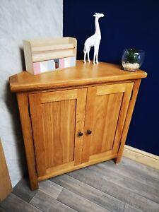 Baysdale Rustic Oak 2 Door Corner Cupboard Cabinet Unit Dining Living Furniture