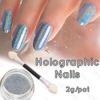 HOLOGRAPHIC NAIL POWDER 2g RAINBOW Glitter Effect Ultra Thin Silver Dust Holo UK