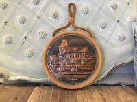 "Torun Poland Wall Plaque Copper round Wall Hanging  6 "" Embossed Copper & Wood"