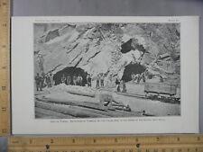 Rare Antique Orig VTG 1901 Smithsonian Simplon Tunnel Diveria Photogravure Print