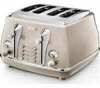 DELONGHI Icona Metallics CTOT4003.BG 4-Slice Toaster Defrost Gold
