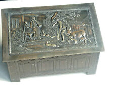 ANTIQUE 1920s Jacobs Biscuit Tin Jacobean Log Box brass embossed rural scene lid