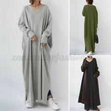 ZANZEA Women Casual V Neck Long Sleeve Shirt Dress Plain Baggy Maxi Dresses Plus