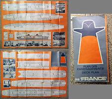 CARTA TRANSATLANTICO SS FRANCE plan des emmenagements deck plan_ Transatlantique