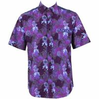 Mens Loud Shirt Retro Psychedelic Festival Party Funky Abstract Purple REGULAR