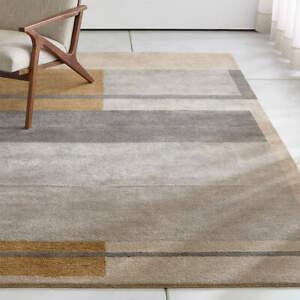 Crate & Barrel Kirk Color Block Handmade Modern Elegant Woolen Rugs & Carpet