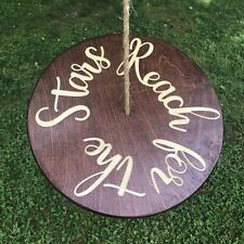 """Handmade Wooden Tree Swing Disk Rope Outdoor 