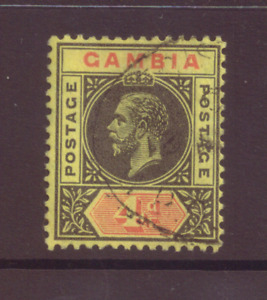 Gambia, 4d black and red/yellow, SG 92,  FU, 1912 - 22.