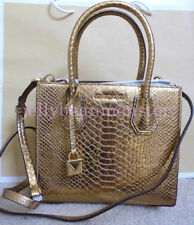 MICHAEL KORS Mercer Embossed Leather Messenger Bag Crossbody M Gold