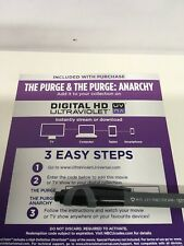 The Purge  And The Purge Anarchy, 2 Film HD UV Ultraviolet Codes Only. No Discs