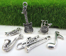 6 JAZZ or MUSIC Themed Tibetan Silver Tone Charms Collection Set, US SELLER