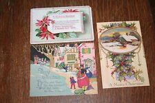 3 Vintage Christmas Postcards - Raised Flowers 1955