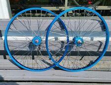 """24"""" 7X style Sealed High Flange BMX Wheels Freewheel Pair Blue Anodized"""
