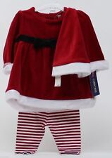 Christmas Cherokee Mrs Claus Outfit Shirt Striped Pants & Hat Size 3-6 months