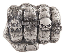 Harley-Davidson Men's Fist Forward Belt Buckle, Antique Nickle Finish HDMBU11417