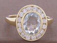 R238- Genuine 9K Gold NATURAL Aquamarine & 0.50ct Diamond Engagement Ring size N
