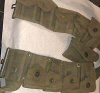 Vintage US Army Military 10 Ammo Pouch Belt W First Aid Pouch Nice! Original!