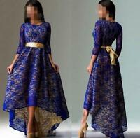 Vintage Women Lace Floral New Prom Gown Long Dress 3/4 Sleeve New Party Leisure
