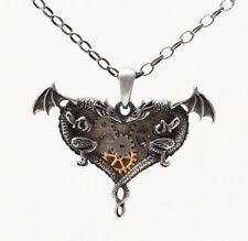 Dual Dragon Heart Steampunk Necklace Gearwork Pendant steam punk jewelry New