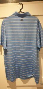 Adidas Climacool Golf Shirt Size XL Light Blue With White Stripes Faldo Series